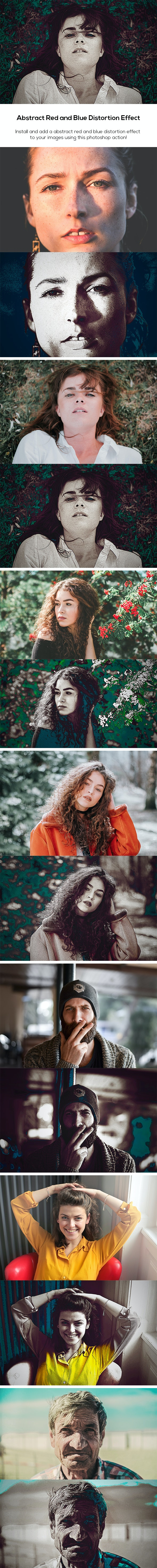 Abstract Red and Blue Distortion Effect - Photo Effects Actions