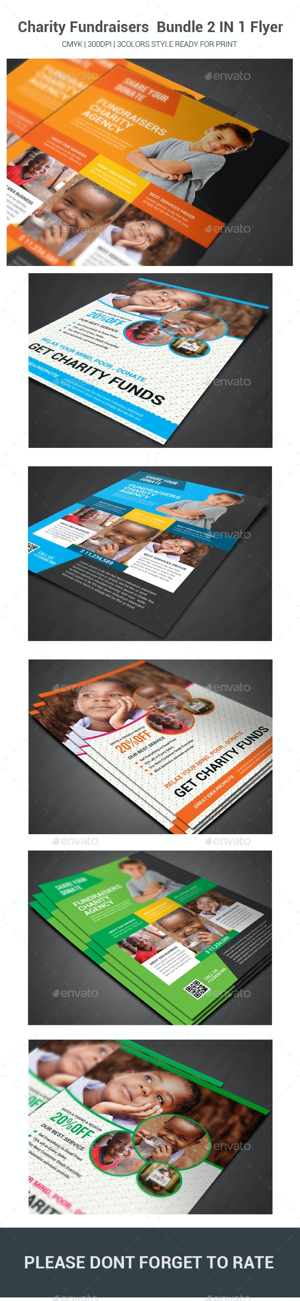 Charity Fundraisers  Bundle 2 IN 1 Flyer - Flyers Print Templates