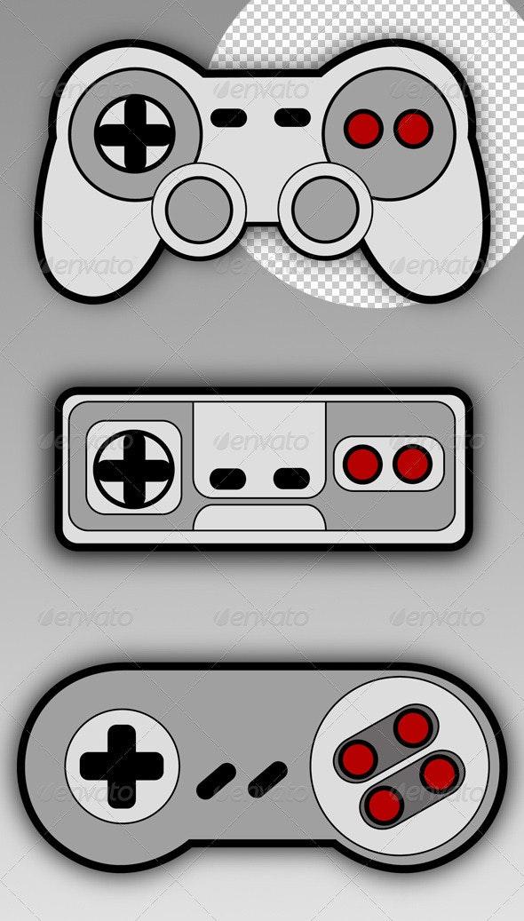 Retro Gamepads - Objects Illustrations