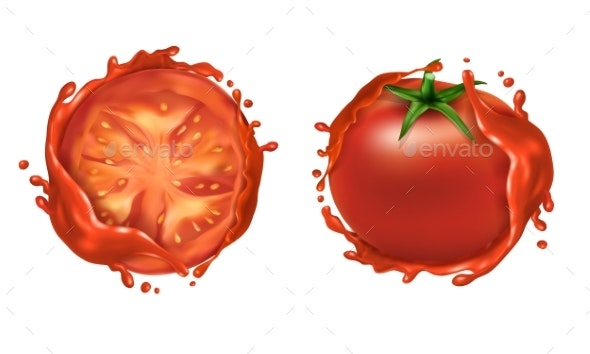 Vector Set of Two Red Ripe Tomatoes with Splashes - Food Objects