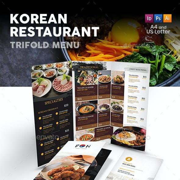 Korean Restaurant Trifold Menu 2