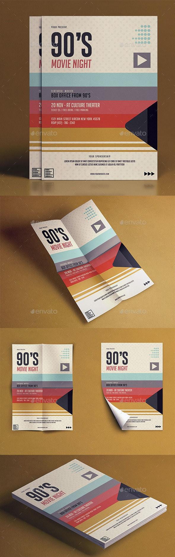 90's Movie Night Flyer - Brochures Print Templates