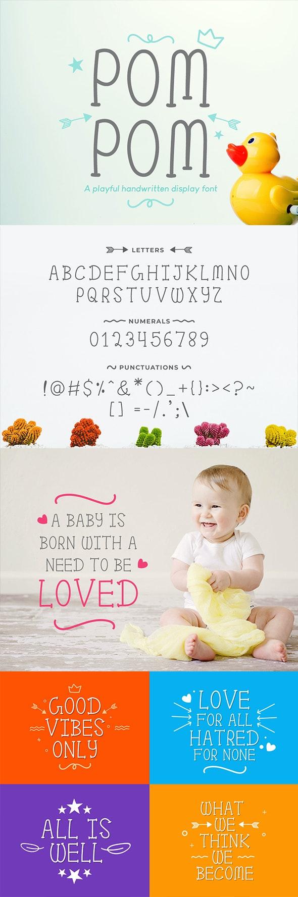 Pom Pom : Cute Handwritten font - Sans-Serif Fonts