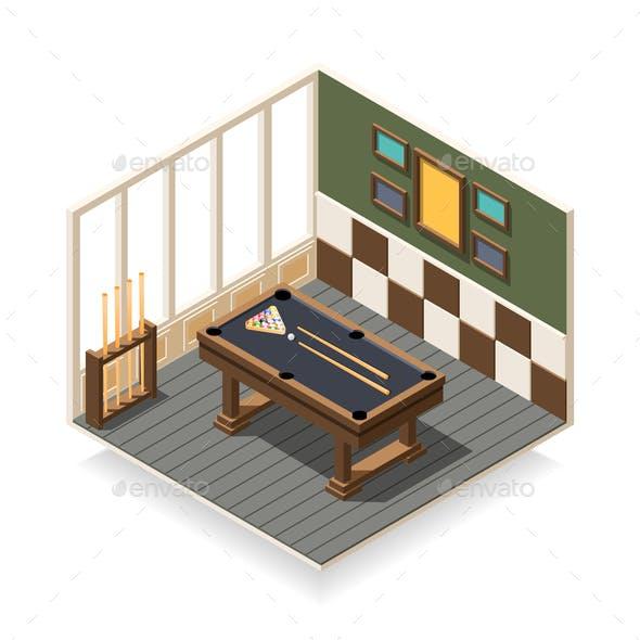 Billiard Room Isometric Composition