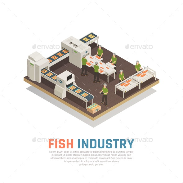 Fish Factory Isometric Background - Food Objects