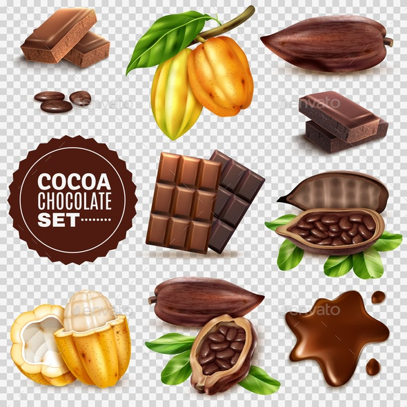 Realistic Cocoa Transparent Background Set - Food Objects