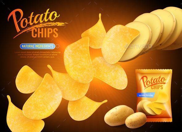 Potato Chips Advertising Background - Food Objects