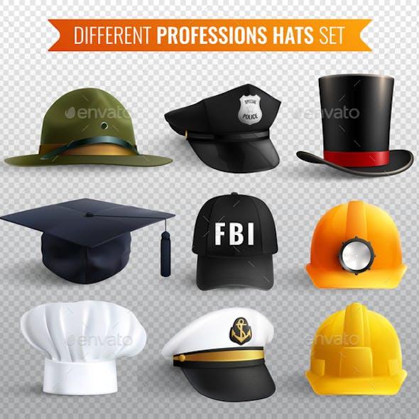 Professions Hats Transparent Set