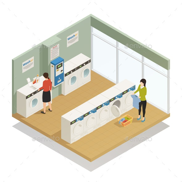 Laundry Isometric Composition - People Characters