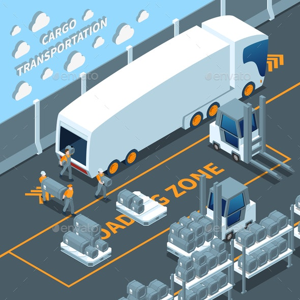 Modern Electric Truck Isometric Composition - Industries Business