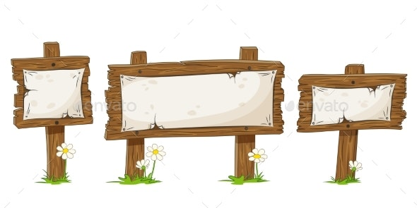 Cartoon Wooden Wigns - Flowers & Plants Nature