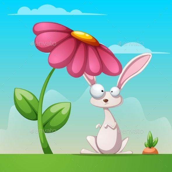 Cartoon Landscape with Rabbit Illustration - Flowers & Plants Nature
