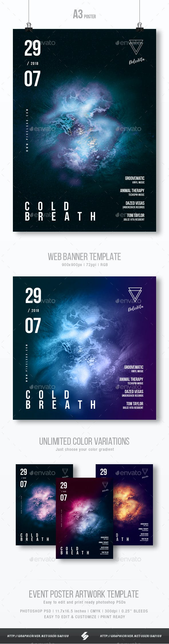 Cold Breath - Progressive Party Flyer / Poster Template A3