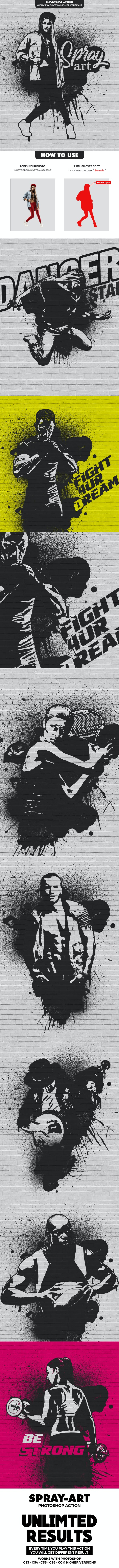 Spray Art Photoshop Action - Photo Effects Actions