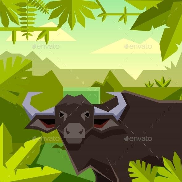 Flat Geometric Jungle Background with Buffalo - Flowers & Plants Nature