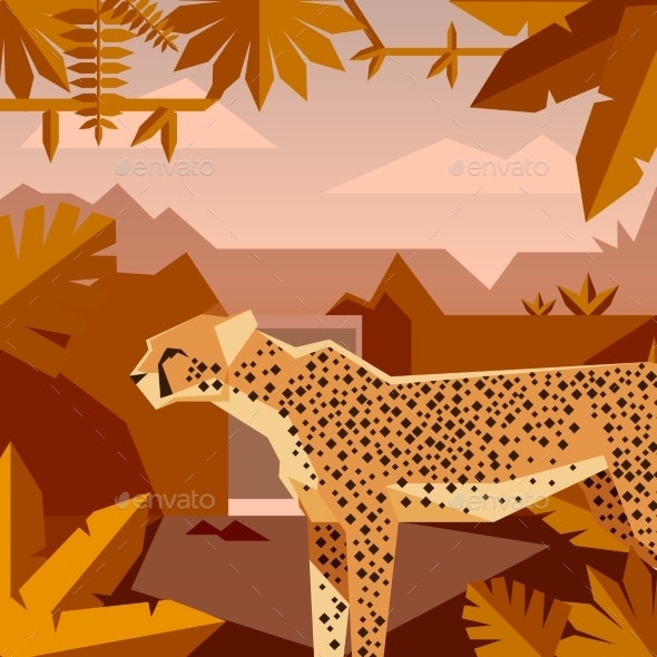 Flat Geometric Jungle Background with Cheetah - Animals Characters