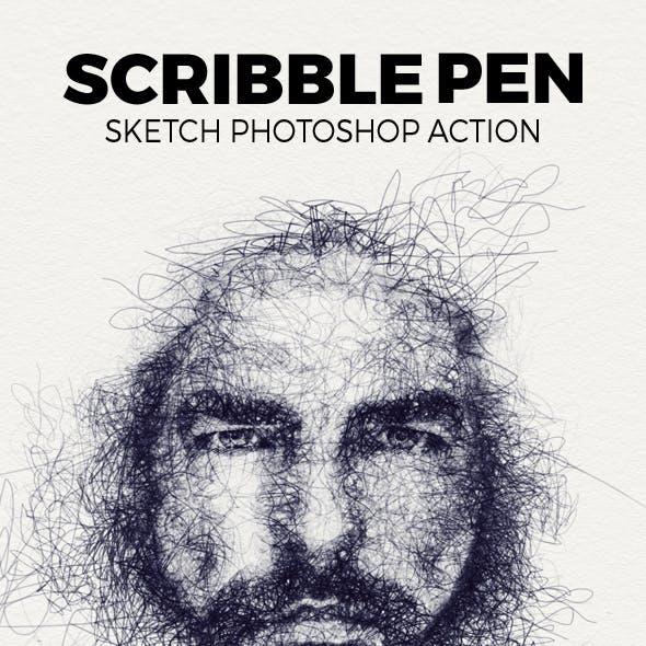 Scribble Pen Sketch Photoshop Action