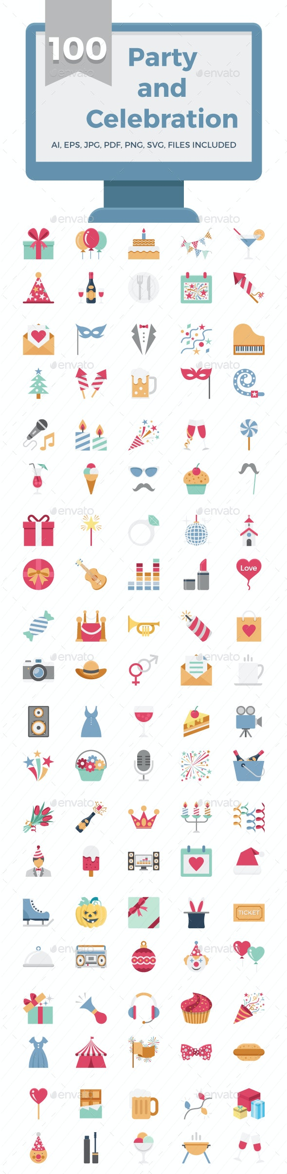 100 Party and Celebration Color Vector Icons Set - Icons