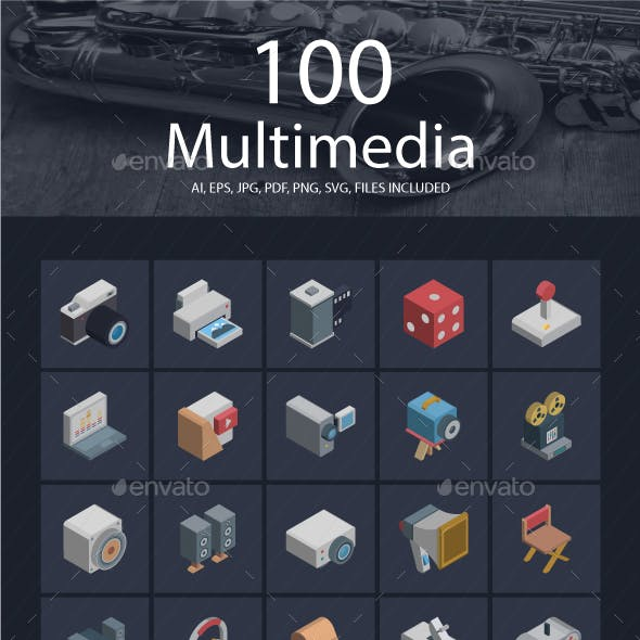 25 Multimedia Isomeric icons Pack