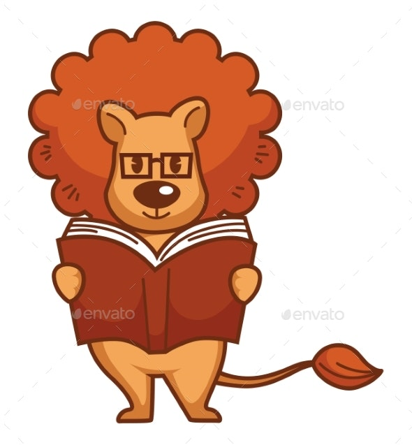 Lion with Mane in Glasses Reads Book - Animals Characters