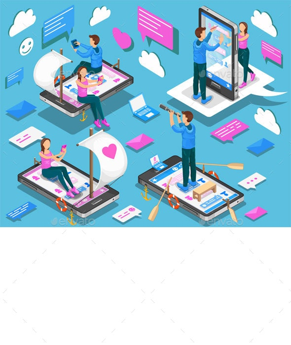 Virtual Relationships and Online Dating Isometric Concept - Web Technology