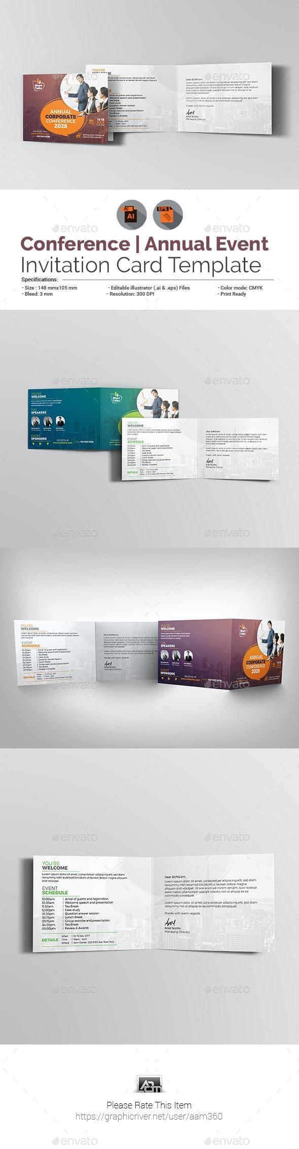 Annual Corporate Conference Invitation Card - Cards & Invites Print Templates