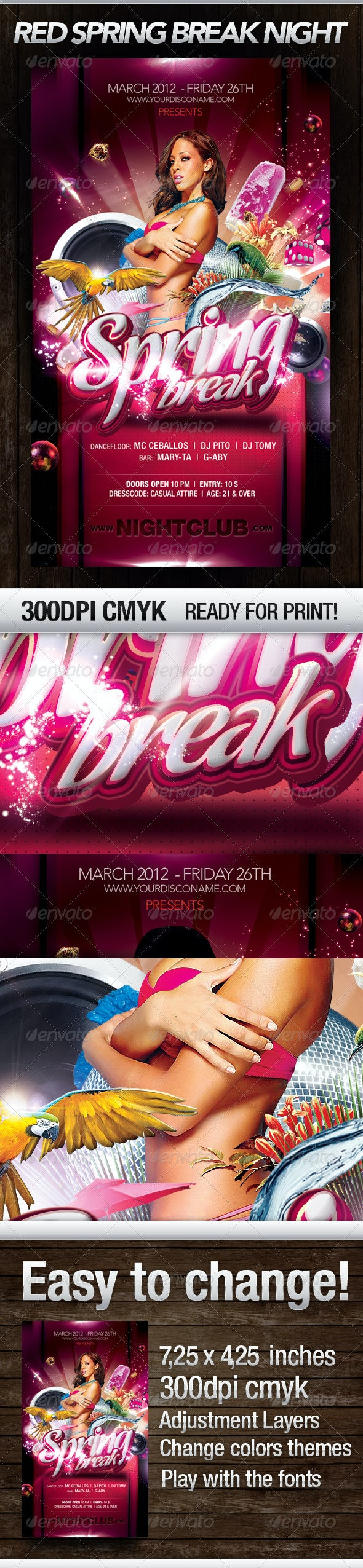 Red Spring Break Nights - Flyers Print Templates