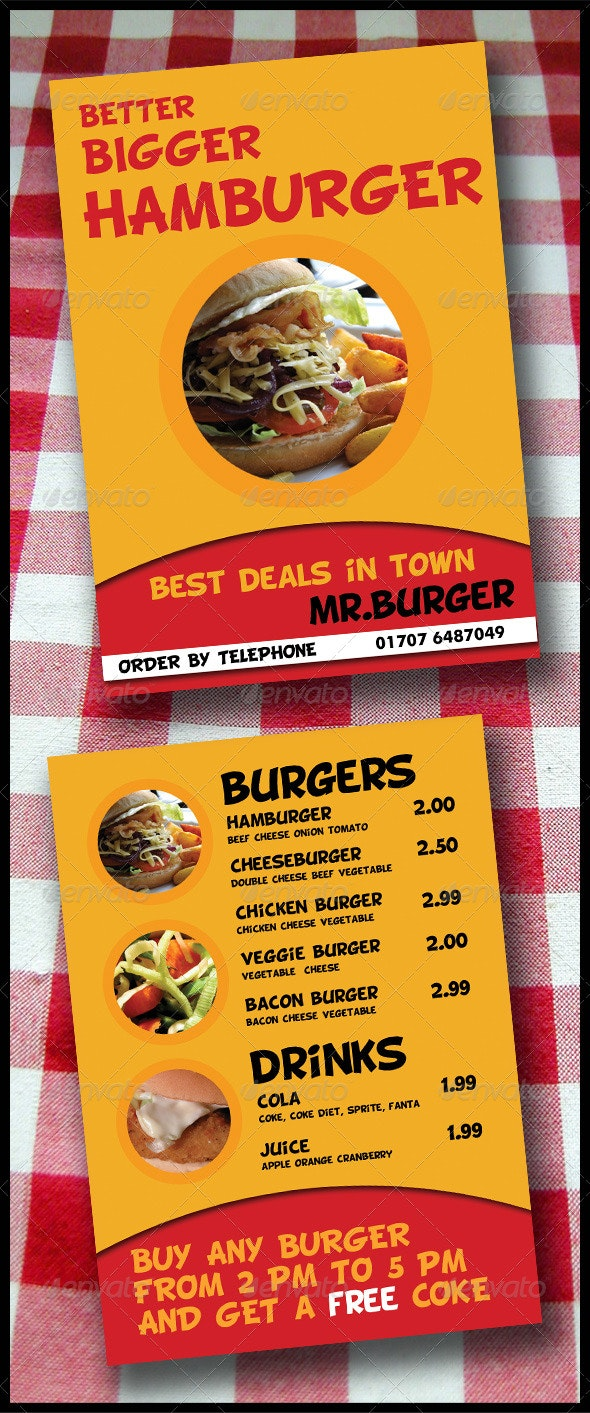 Take-Away Menu Flyer (2 Pages A5 Brochure) - Restaurant Flyers