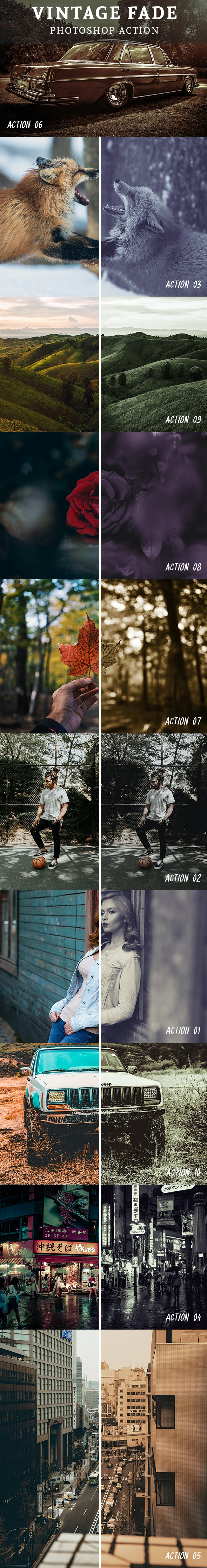 10 Vintage Fade Photoshop Action - Photo Effects Actions
