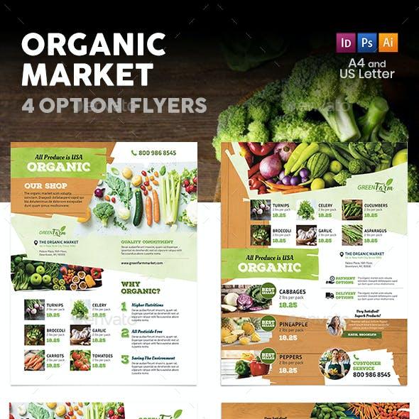 Organic Market Flyers 3 – 4 Options