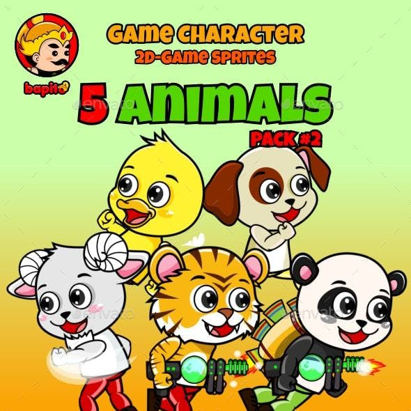 5 Animals 2D Game Character Sprites Pack 2