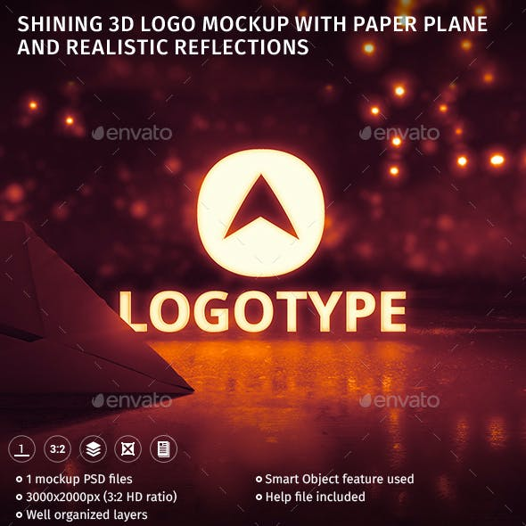 Shining 3D Logo Mockup With Paper Plane And Realistic Reflections