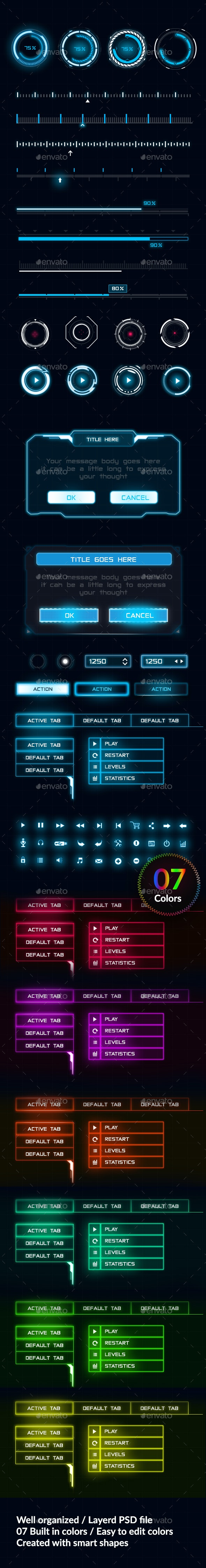 Game UI Elements - User Interfaces Game Assets