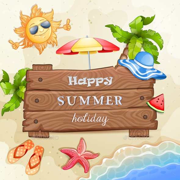 Summer Elements Vacation with Wood Banner - Miscellaneous Seasons/Holidays