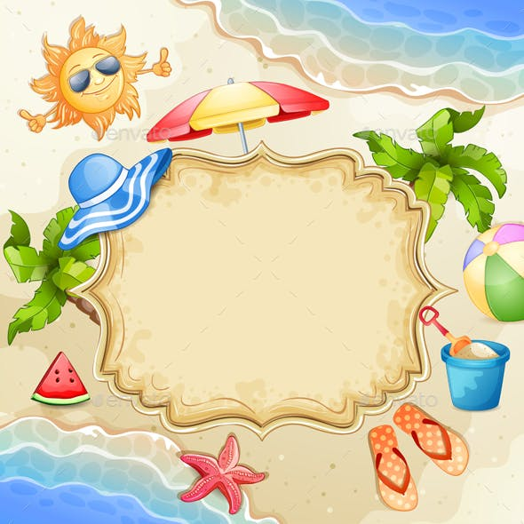Summer Elements with Happy Sun,Watermelon,Sea and Palm Trees.