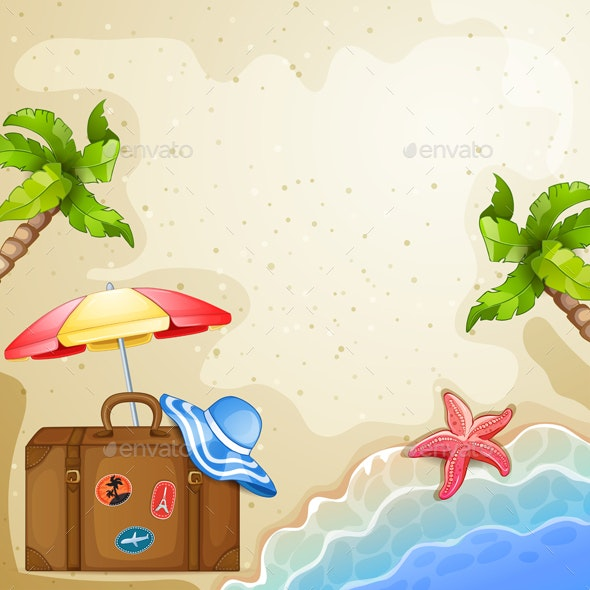 Summer Elements with Vintage Suitcase,Sea and Palm Trees. - Seasons Nature
