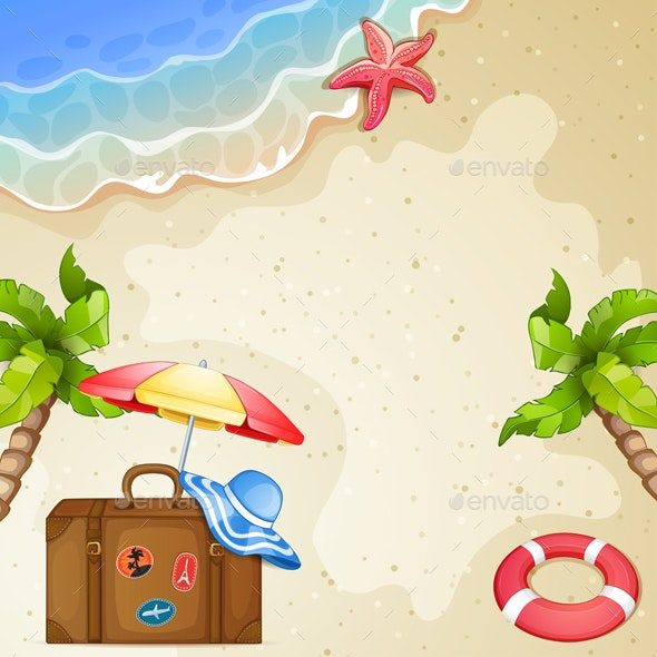 Summer Elements with Vintage Suitcase,Sea and Palm Trees. - Miscellaneous Characters