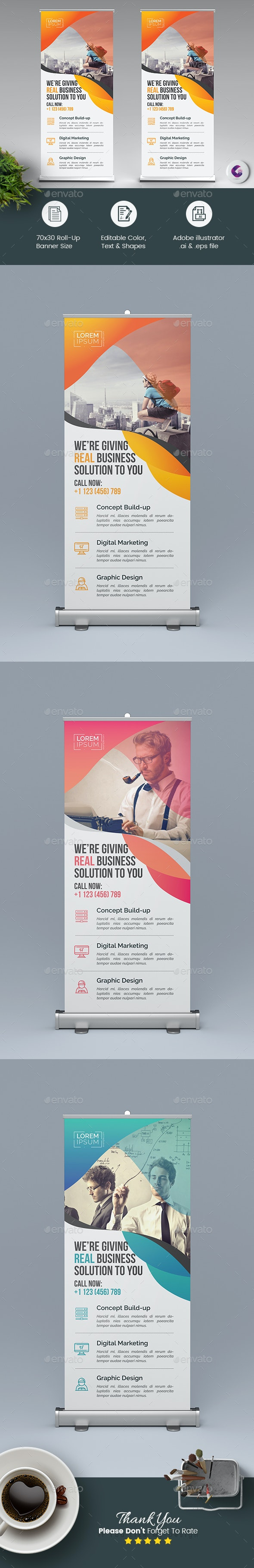 Corporate Roll Up Banner Template - Signage Print Templates