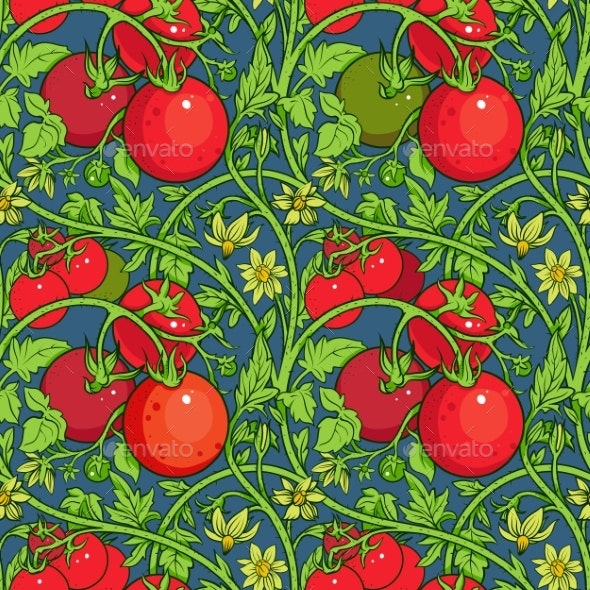 Pattern of Tomato Branch in a Garden. - Food Objects