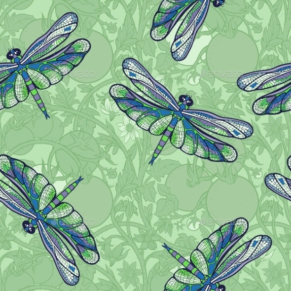 Pattern of Dragonflies and Tomato Branches. - Food Objects