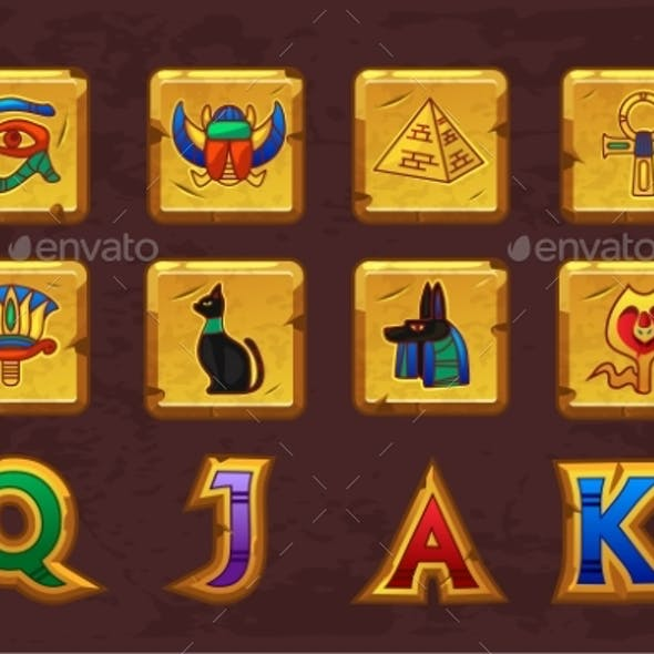 Egyptian Icons for Casino Machines Slots Game