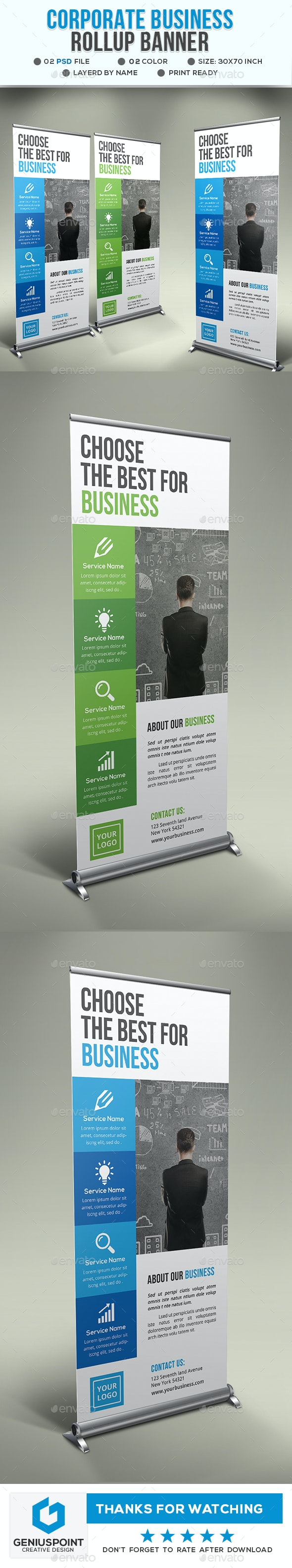 Corporate Business Roll Up Banner - Signage Print Templates