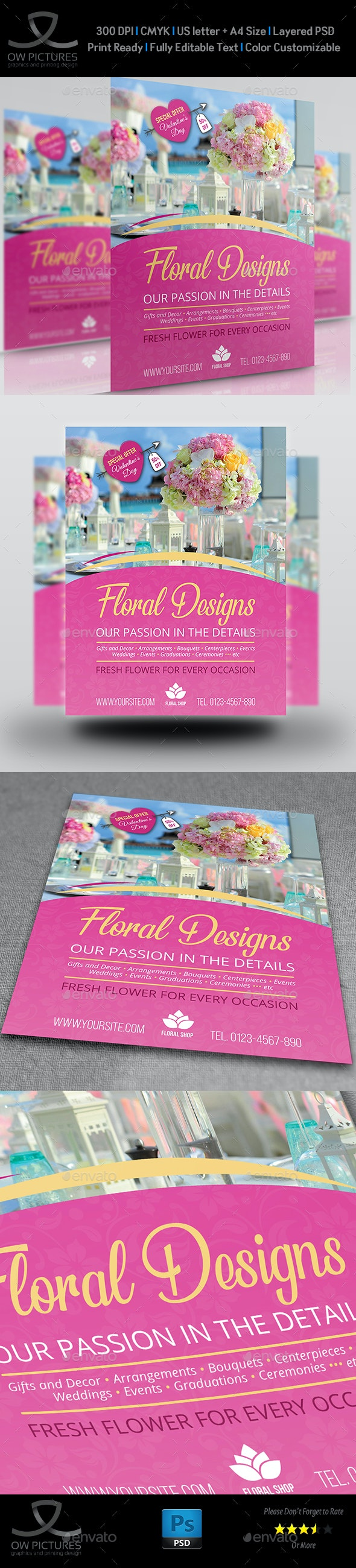 Floral Designs Flyer Template - Flyers Print Templates