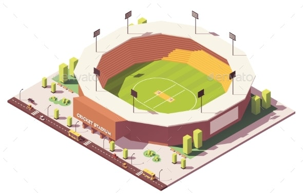 Vector Isometric Low Poly Cricket Stadium - Buildings Objects