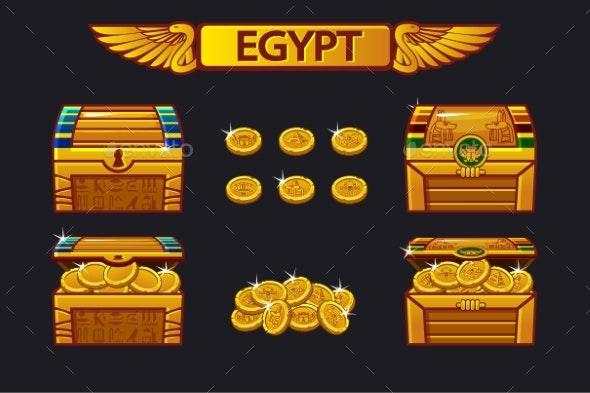 Egypt Antique Treasure Chest and Golden Coins - Miscellaneous Vectors