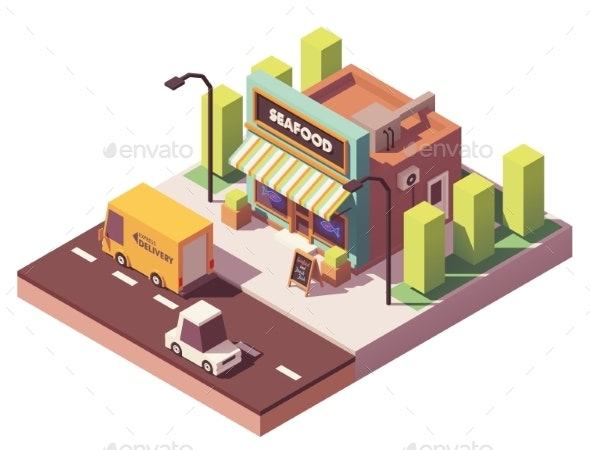 Vector Isometric Fish and Seafood Shop - Buildings Objects