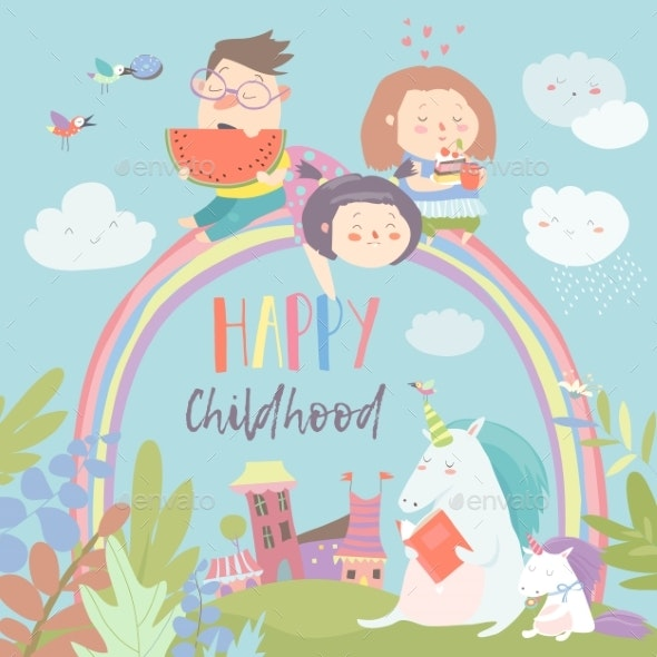 Happy Kids on Rainbow with Magical Unicorns - People Characters