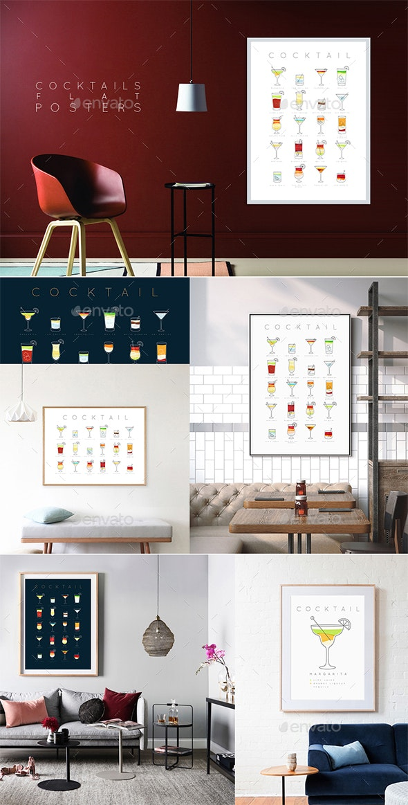 Poster Set of Flat Cocktails - Food Objects