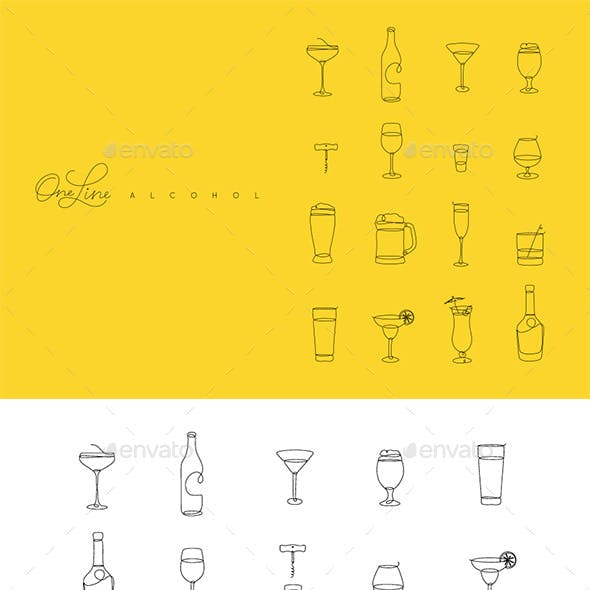 One Line Alcohol Icons
