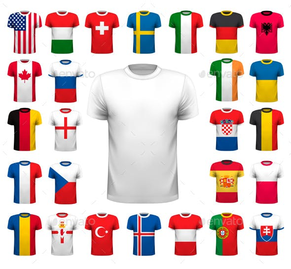 Collection Of Various Soccer Jerseys, Vector